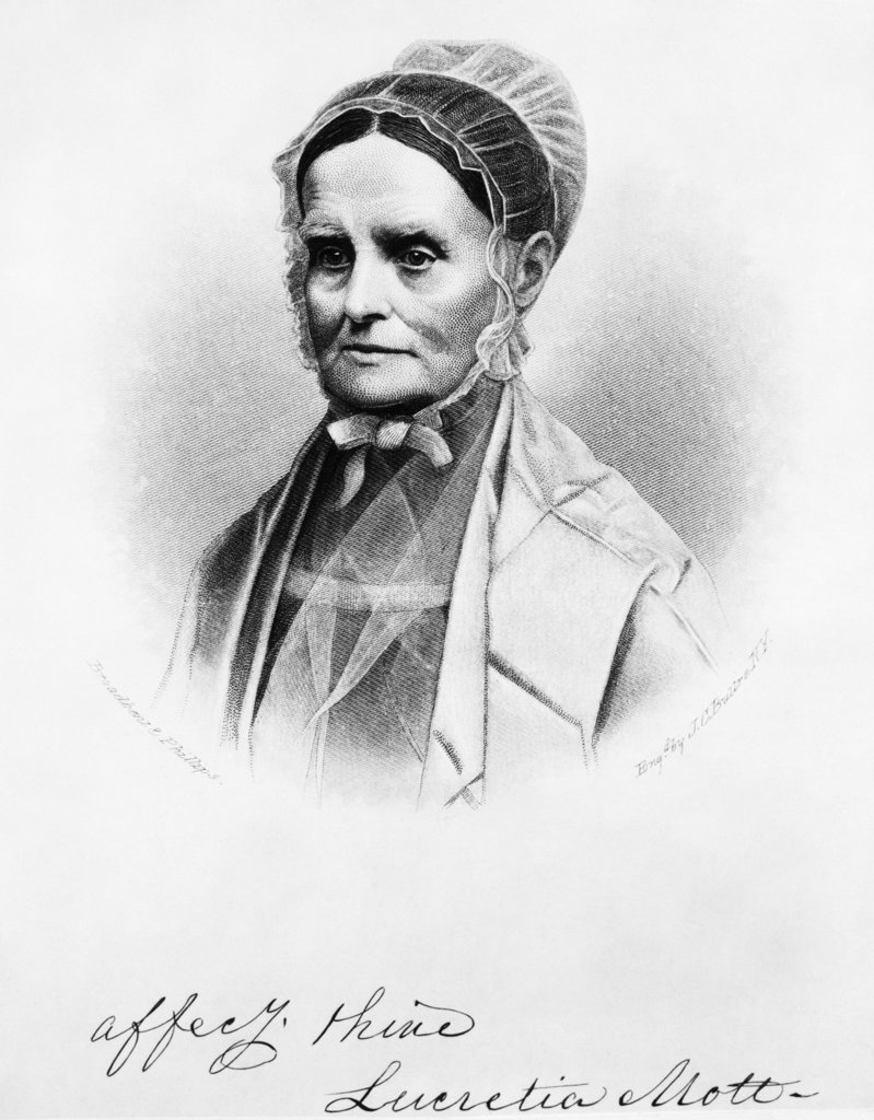 Etching Portrait Of Lucretia Mott American Feminist Social Reformer Antislavery Women'S Rights Suffrage 1793-1880 : Stock Photo