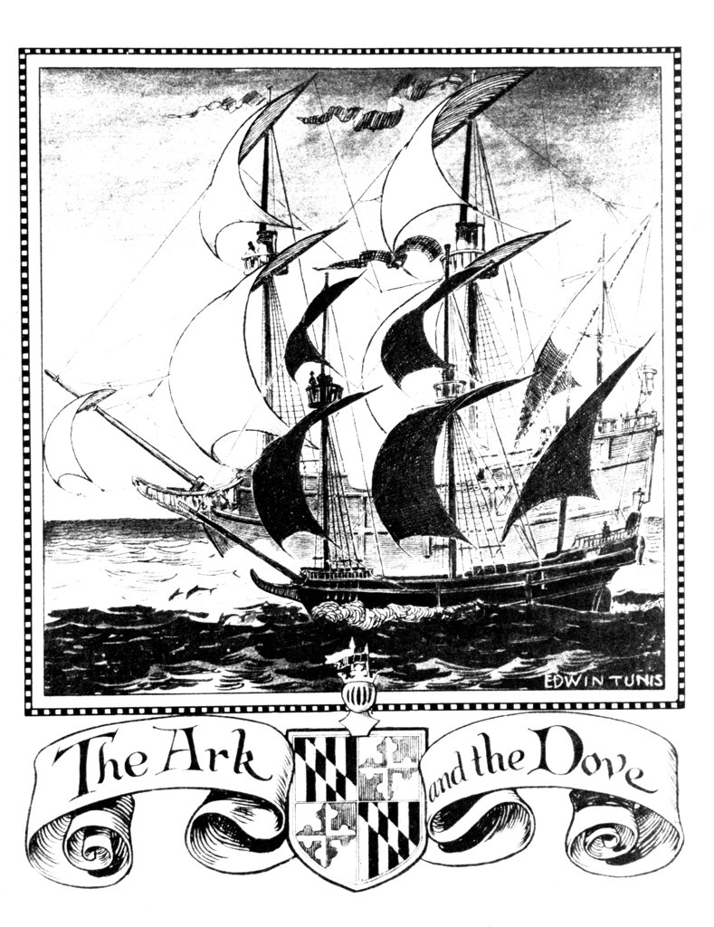 Illustration Of English Ships The Ark And The Dove First Colonizing Ships To Maryland 1634 : Stock Photo