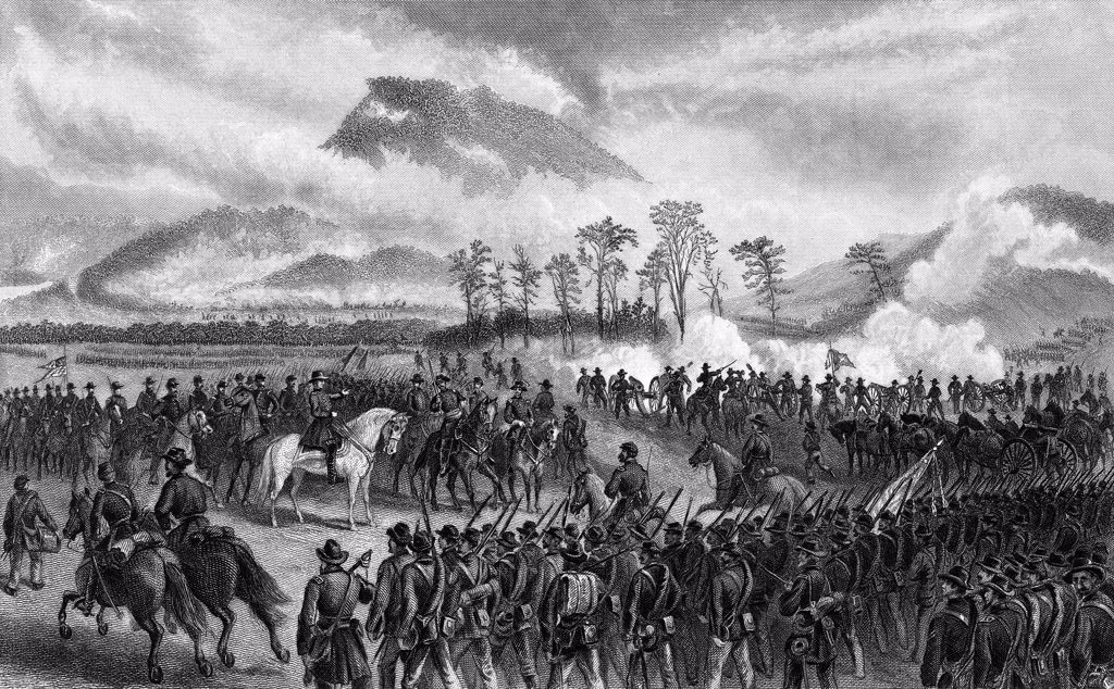 1800S 1860S November 1863 Battle Of Lookout Mountain Part Of Chattanooga Campaign A Union Victory : Stock Photo