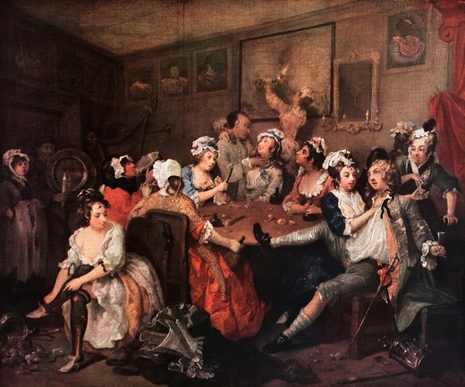 Stock Photo: 4186-17722 1700S The Orgy From Rake'S Progress Painting By William Hogarth 1732