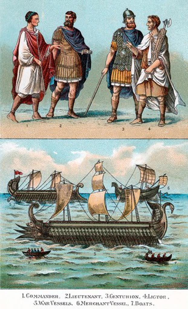 Stock Photo: 4186-17726 Officers And Ships Of Ancient Roman Empire Commander Lieutenant Centurion Lictor War & Merchant Ships & Galleys