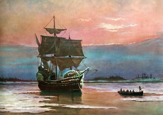Stock Photo: 4186-17732 Painting Of The Ship The Mayflower 1620 In Plymouth Harbor By William Halsall Pilgrims Transport