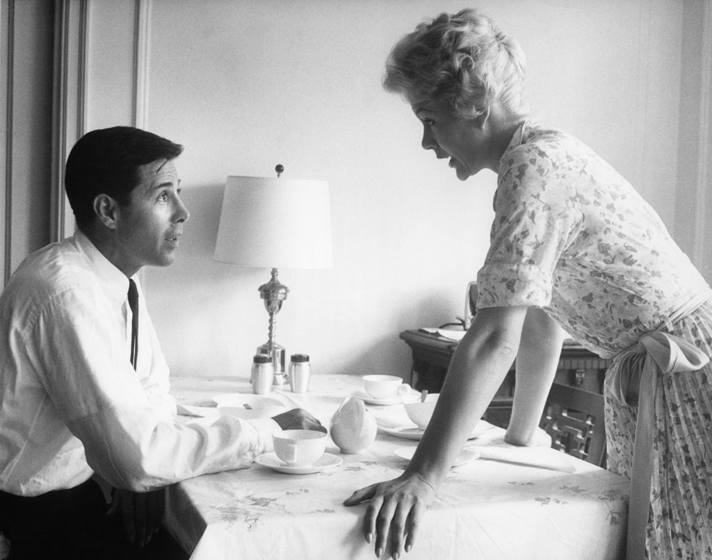 1960S Husband And Wife Arguing At Breakfast Table Indoor : Stock Photo