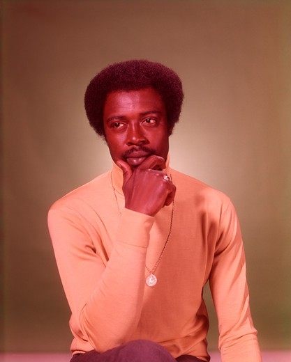 1960S Portrait Thoughtful African American Man : Stock Photo