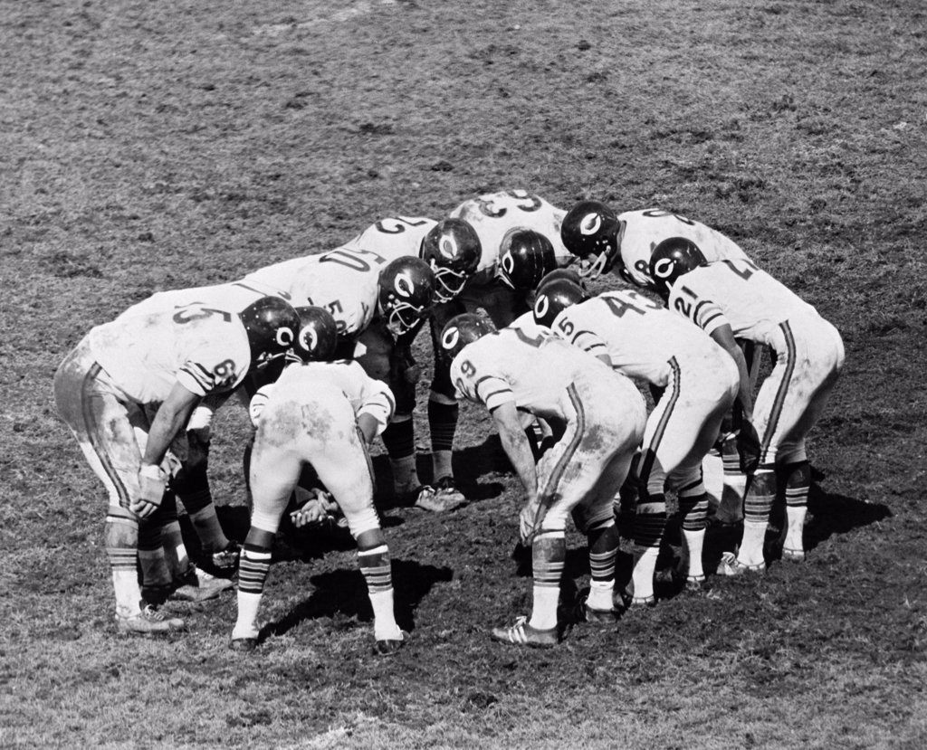 Stock Photo: 4186-2429 1960S Football Team Huddle