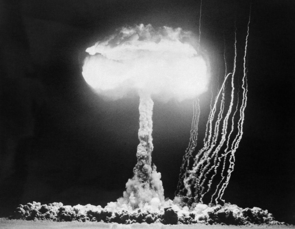 Stock Photo: 4186-3079 1950S Atomic Test Showing The Blast And Mushroom Cloud At The Nevada Proving Grounds