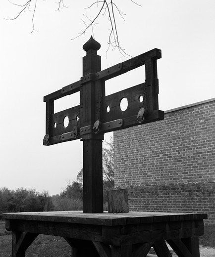 Stock Photo: 4186-3278 Pillory At Public Gaol 1701 - 1704 Williamsburg Virginia Colonial America 18Th Century