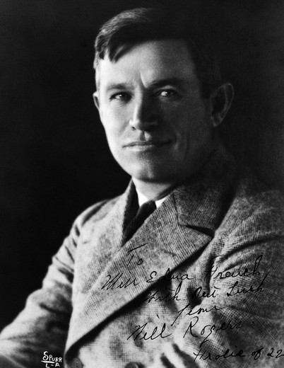 Stock Photo: 4186-3351 Portrait Of Will Rogers American Actor And Humorist Appeared In Ziegfield Follies In The 1920S Americana Hero Cowboy 1879-1935