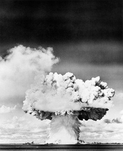 Stock Photo: 4186-3357 Atomic Bomb Explosion Mushroom Cloud Nuclear Radiation Danger Weapon