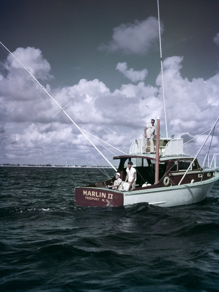 Stock Photo: 4186-4364 1950S 3 Men On Charter Fishing Boat Marlin Ii Freeport New York Sport Fish