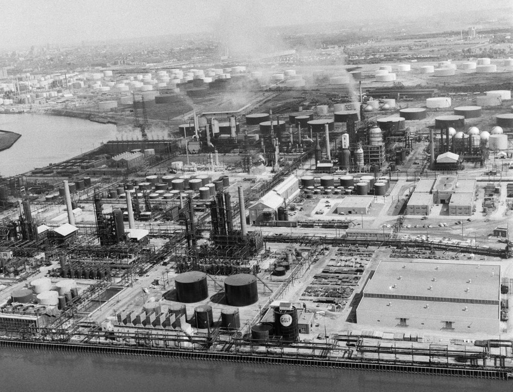 Stock Photo: 4186-523 1950S Aerial Of Industrial Site On Delaware River South Of Philadelphia Pennsylvania Usa