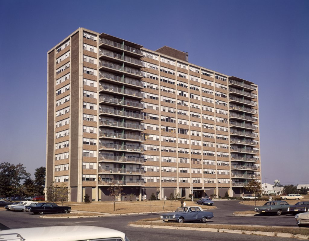 Stock Photo: 4186-5310 1960S Architecture High Rise Apartment Building
