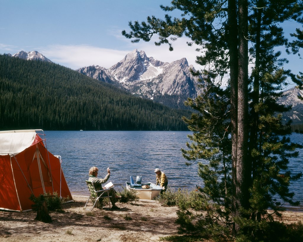 Stock Photo: 4186-5603 1970S Couple Camping Stanley Lake, Id
