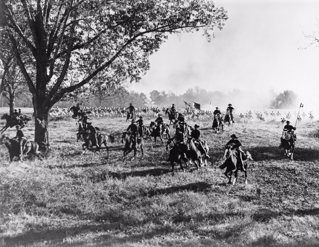 Stock Photo: 4186-680 Army Regiment Cavalry Coming To Rescue Or Being Chased By Uniformed Troops Movie Still