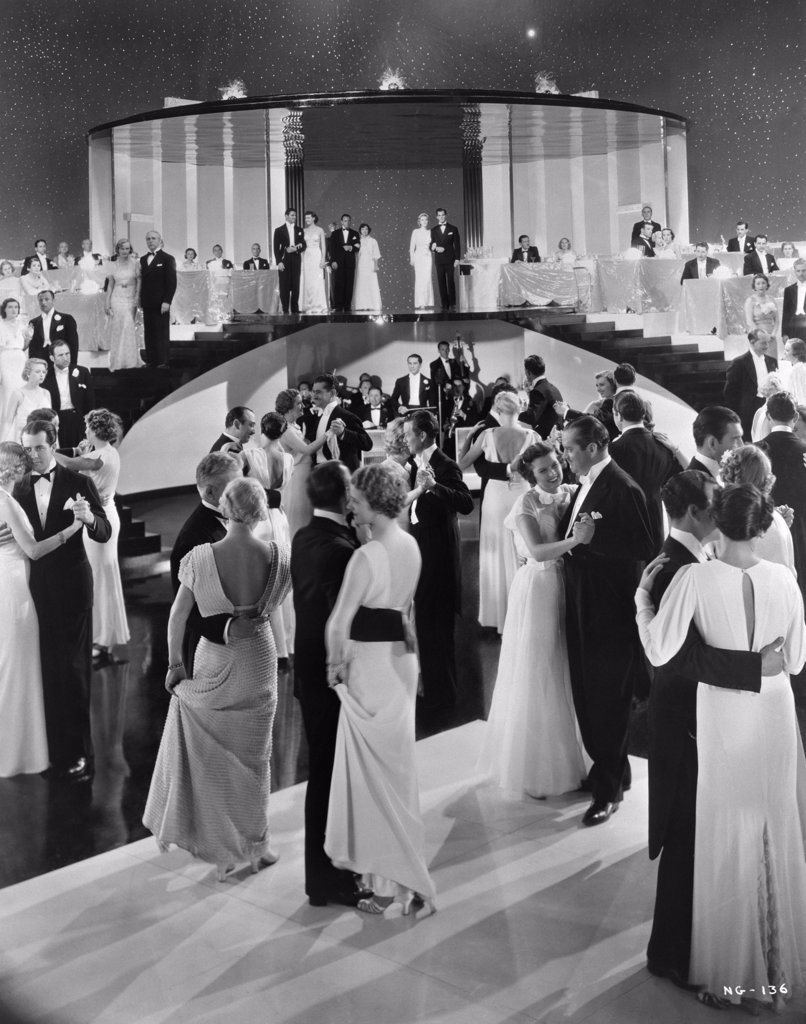 Stock Photo: 4186-780 1930S Couples Dancing On Movie Set Of Swing Time Which Starred Fred Astaire & Ginger Rogers Bandleader George Metaxa