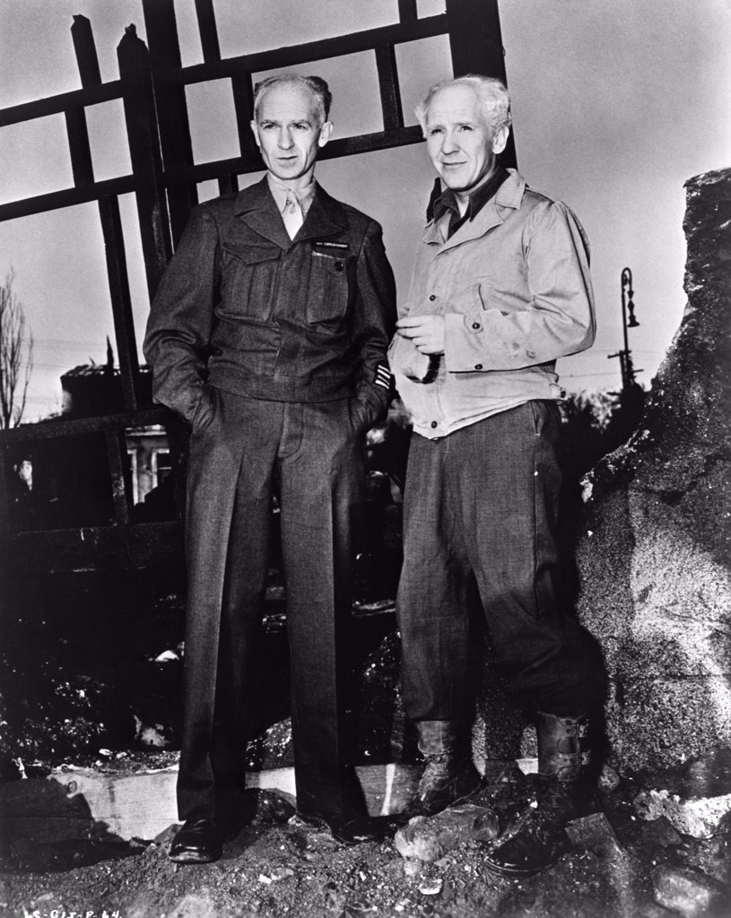 Stock Photo: 4186-802 Ernie Pyle And Burgess Meredith On The Set Of Movie Gi Joe Meredith Played Pyle In The Movie