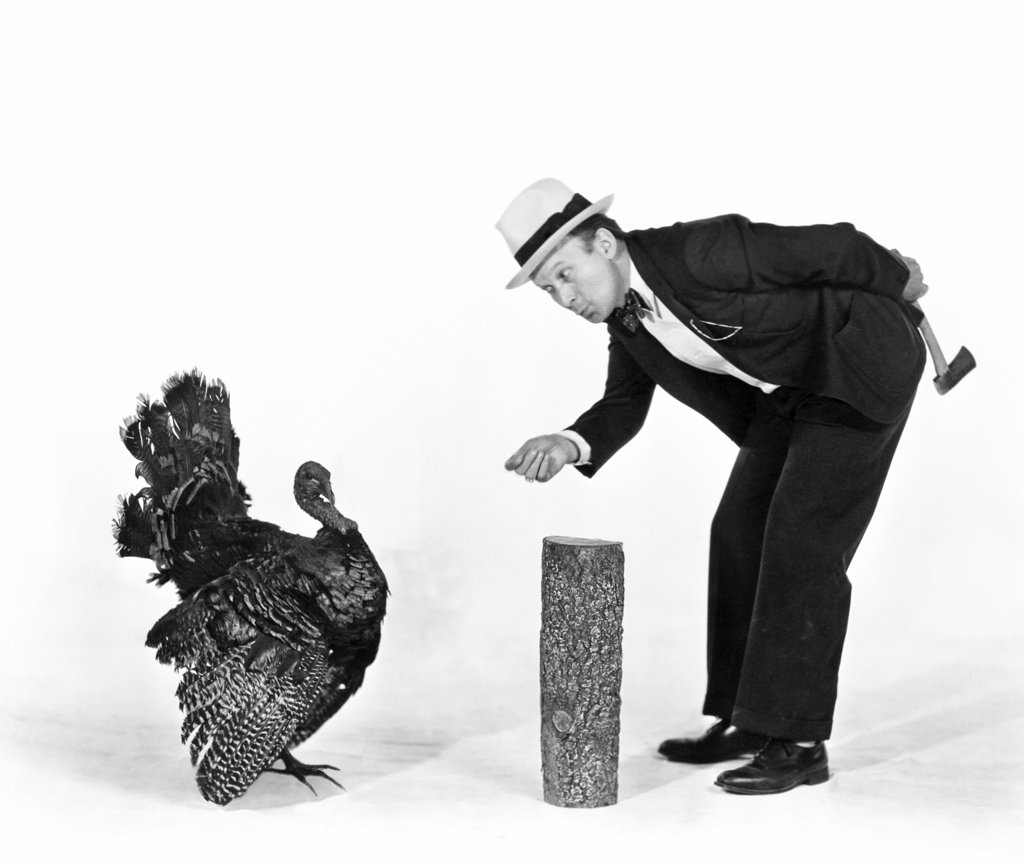 Stock Photo: 4186-8029 1930S 1940S Man Character With Hatchet Trying To Catch A Thanksgiving Turkey