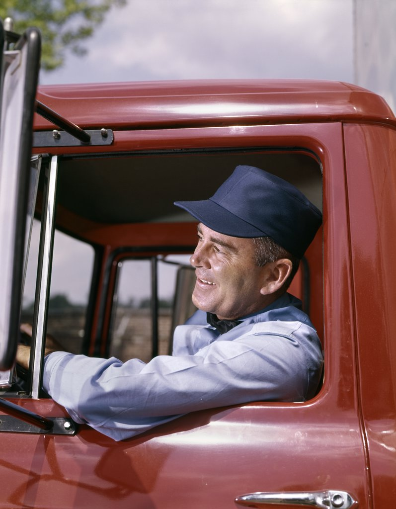 1950S 1960S Man Delivery Truck Driver : Stock Photo