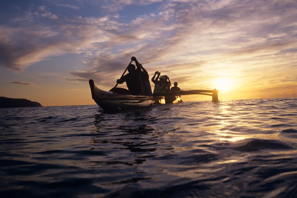 Stock Photo: 4186-9243 Outrigger Canoe At Sunset Haleiwa, Oahu