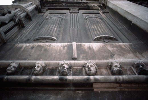 Sculptural Head Adorning Sibenik Cathedral Wall : Stock Photo