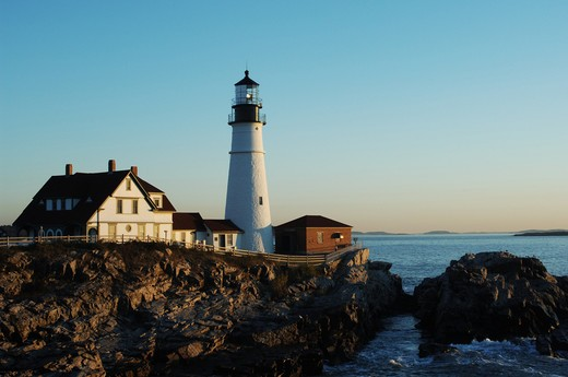 Portland Head lighthouse at dawn : Stock Photo
