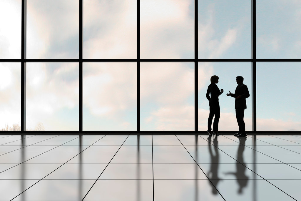 Stock Photo: 4193R-104 Profiles of two business people against a bank of windows in an office tower