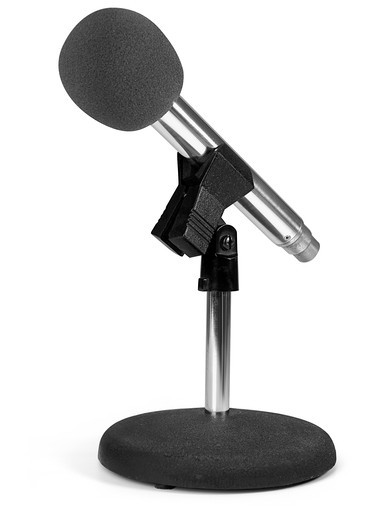modern microphone on stand with white background : Stock Photo