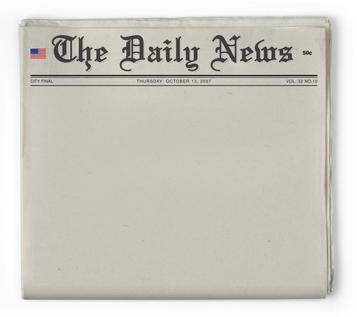 Stock Photo: 4193R-1187 Bogus newspaper shot on white background with clipping path