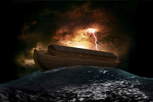 Stock Photo: 4193R-1188 Noah's Ark riding on a swell after the Great Flood