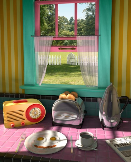 Stock Photo: 4193R-123 Retro kitchen from the 50s showing a retro radio, toaster, percolator, plate of fried eggs and bacon, coffee and the morning news showing an outdoor lawn with a picket fence through an open window