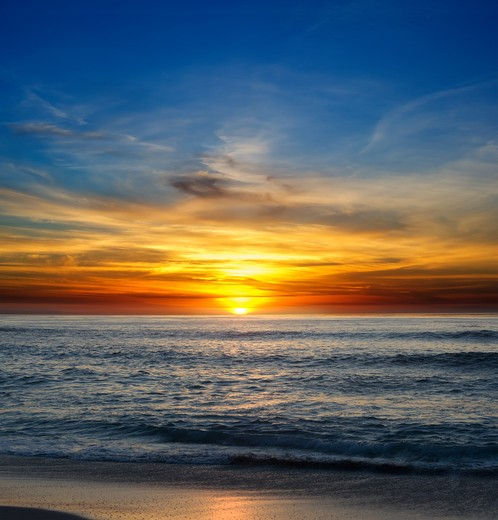 Stock Photo: 4193R-1236 Sunset over the Pacific Ocean from La Jolla, California