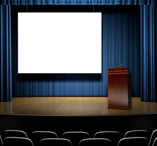 A Stage with a screen for copy and a podium. : Stock Photo