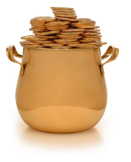 gold pot with gold coins on white : Stock Photo