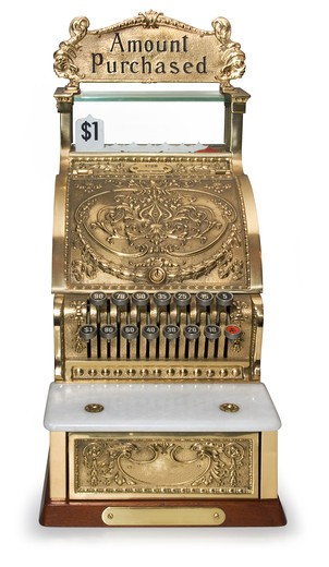 Front view of an ornate victorian cash register : Stock Photo