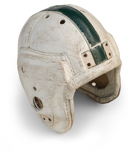 Antique leather football helmet from the 30s & 40's isolated on a white background with a clipping path : Stock Photo