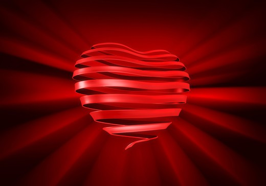 A ribbon curled into the shape of a heart on a rich dark red background. : Stock Photo