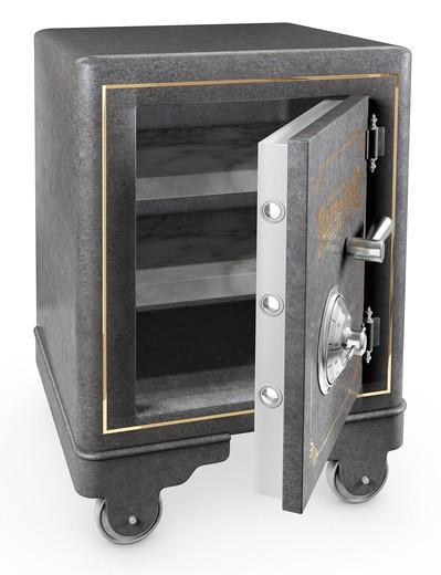 Opened Antique iron safe isolated on white background : Stock Photo