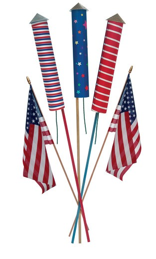 Stock Photo: 4193R-1516 4th of July fireworks, skyrockets and US flags on white background