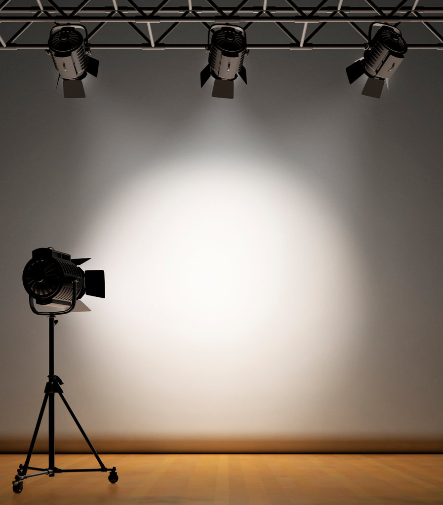 Stock Photo: 4193R-1563 A vintage theater spotlight on a white background