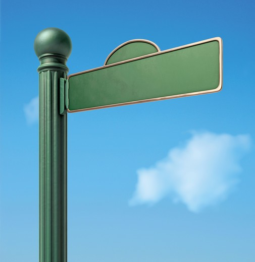 A Blank Old-Fashoned Urban Street Sign. : Stock Photo