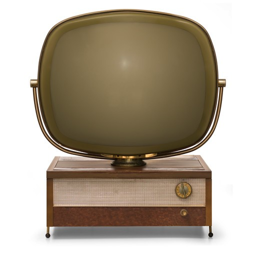 Retro TV modeled after the Philco Predicta isolated on a white background with clipping paths : Stock Photo
