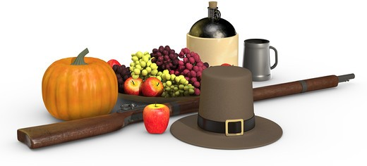Thanksgiving objects on a white background, including a musket, a pumpkin, pilgrim's hat, fruit, apple, grapes, jug of cider and pewter mug : Stock Photo