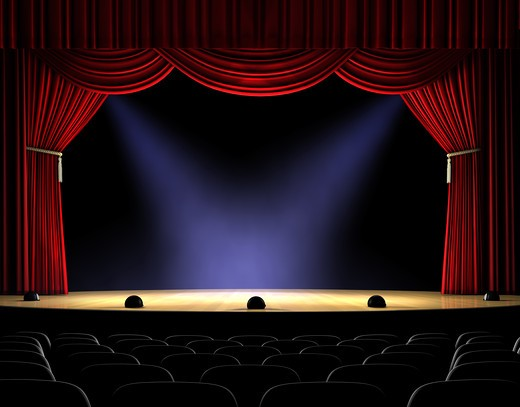 Stock Photo: 4193R-1654 Theatre stage with red curtain and spotlights on the stage floor