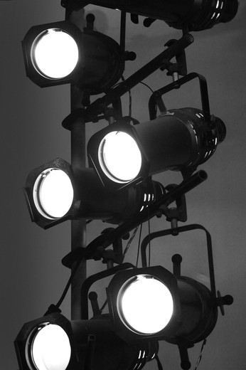 Stock Photo: 4193R-1663 Stage lights on a vertical rig in black and white