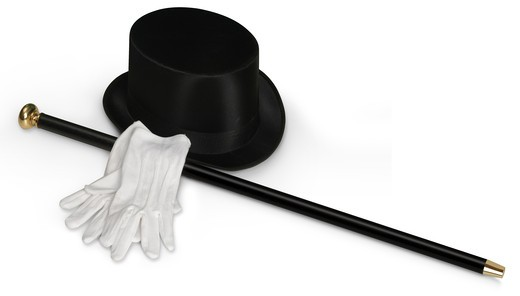 Stock Photo: 4193R-1690 Top hat, white gloves and black cane isolated on white with clipping path