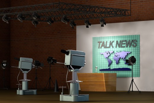 Retro TV studio set for a news broadcast : Stock Photo