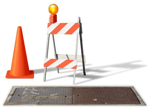 construction cone & barrier on white : Stock Photo