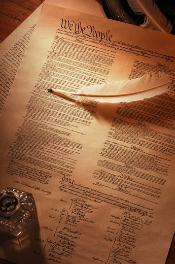 vintage shot of the US Constitution showing the full document wtih quill pen and ink pot : Stock Photo