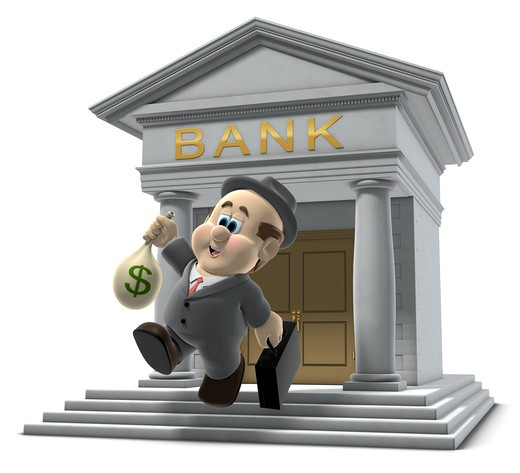 3D illustration of  Wilfred  emerging from a bank with a sack of money isolated on a white background : Stock Photo