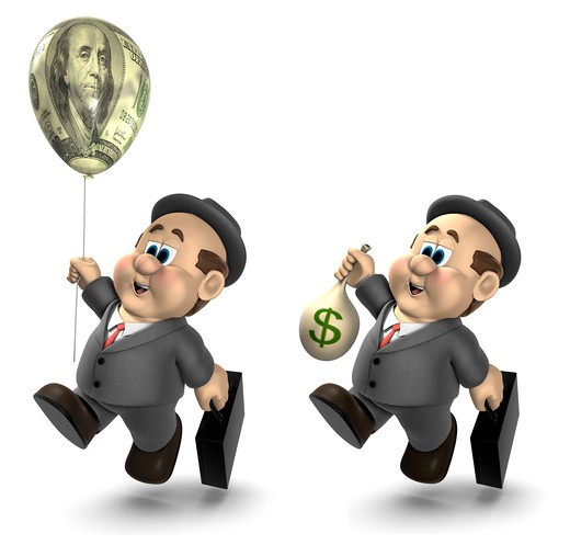 Stock Photo: 4193R-1854 Two versions of the 3D cartoon character  Wilfred ; one holding a bag of money and the other holding a helium balloon decorated with a $100 bill